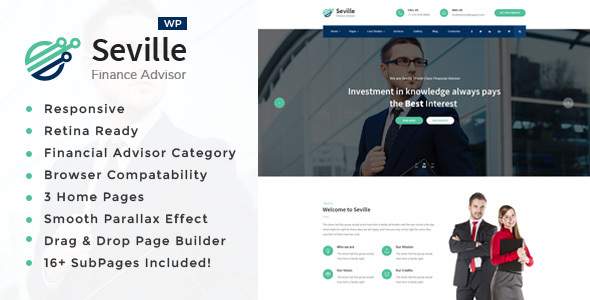Wordpress Immobilien Template Seville -Business Consulting and Professional Services WordPress Theme