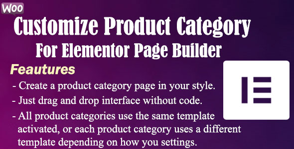 Wordpress E-Commerce Plugin Customize Product Category For Elementor Page Builder