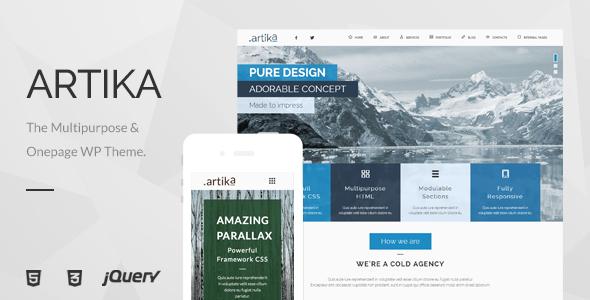 Wordpress Immobilien Template Artika - Multipurpose & Onepage WP Theme