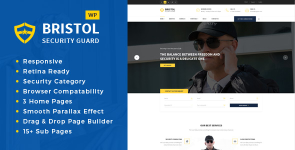 Wordpress Immobilien Template Bristol - Security & Guarding Services WordPress Theme