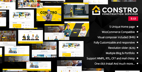 Wordpress Immobilien Template Constro - Construction Business WordPress Theme