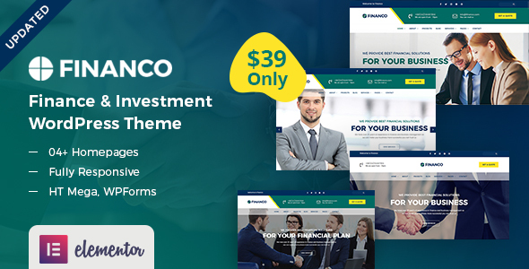 Wordpress Immobilien Template Financo - Finance & Investment WordPress Theme