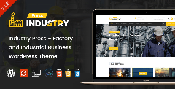 Wordpress Immobilien Template Industry Press - Factory and Industrial Business WordPress Theme
