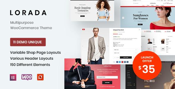 Wordpress Shop Template Lorada - Responsive Elementor eCommerce Theme
