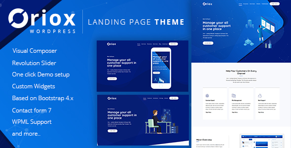 Wordpress Corporate Template Oriox - WordPress Landing Page