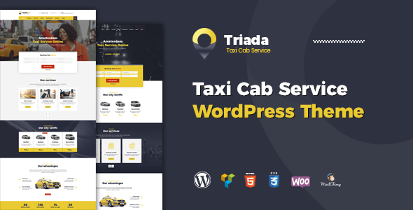 Wordpress Corporate Template Triada - Taxi Cab Service Company WordPress Theme