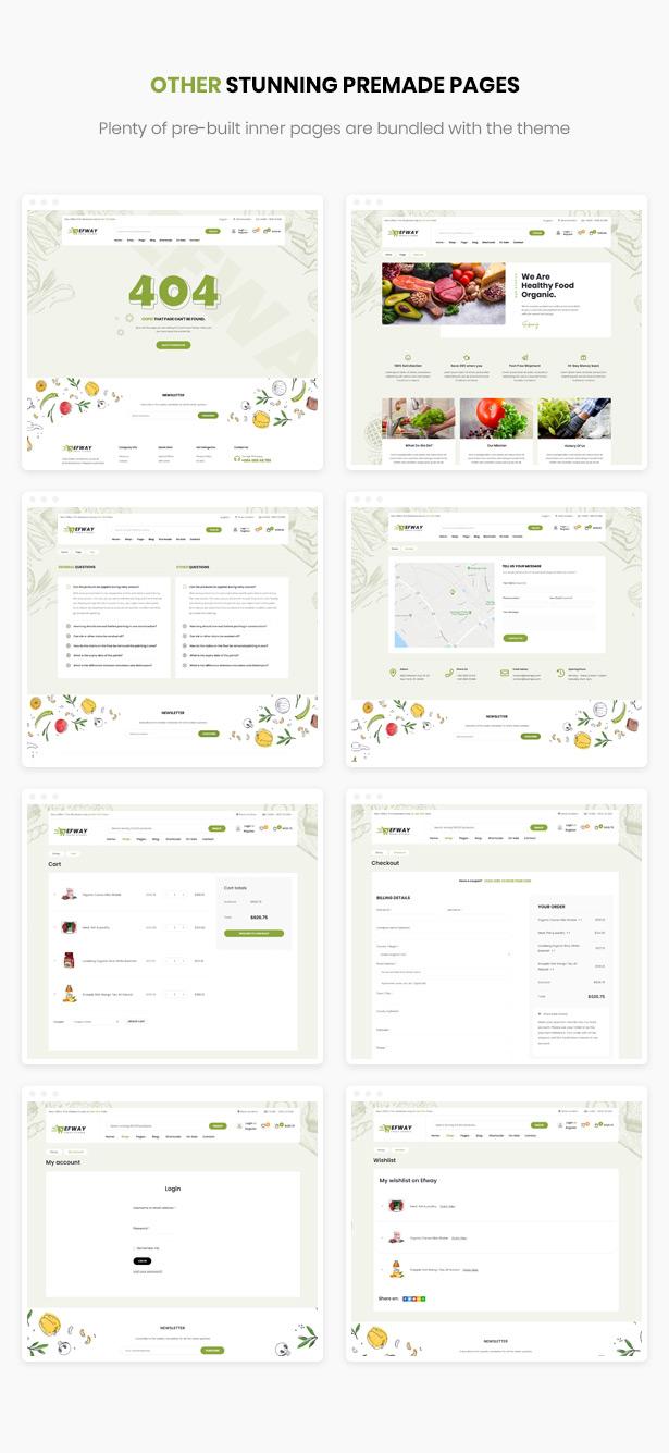 Efway Food Store WordPress Theme - Gebrauchsfertige Innenseiten