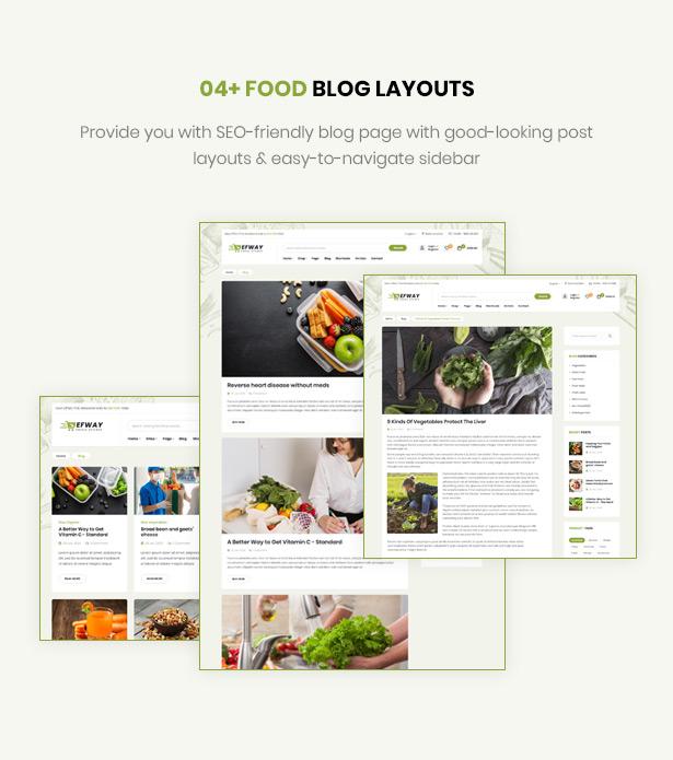 Efway Food Shop WordPress Theme Blog Layouts
