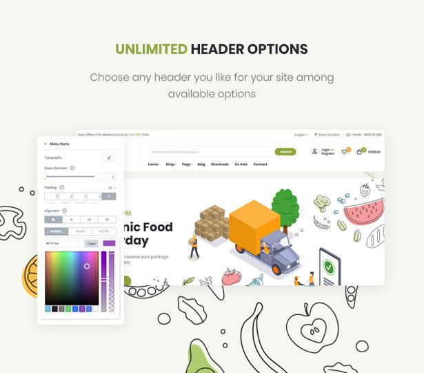 Efway Food Store WordPress Theme Mehrere Kopfzeilenstile