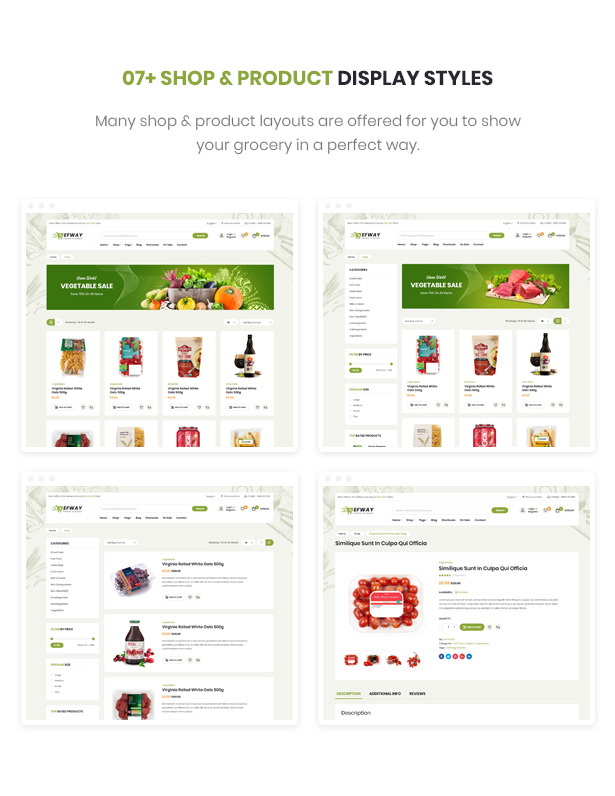 Efway Food E-Commerce WordPress Theme Shop Seiten