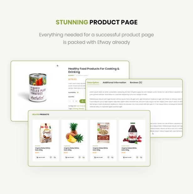 Efway Food Store WordPress Theme gut gestaltete Produktseiten