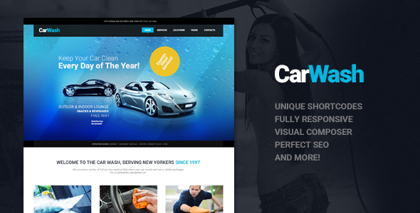 Wordpress Corporate Template Car Wash, Auto Mechanic & Repair Shop WordPress Theme