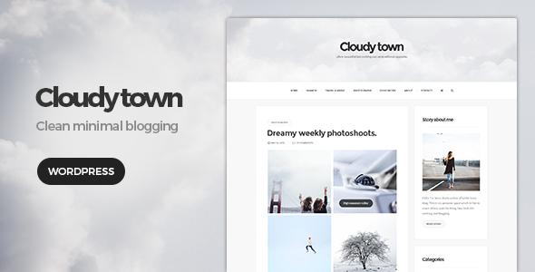 Wordpress Blog Template Cloudy Town - Clean Minimal Blog Theme