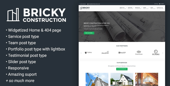 Wordpress Corporate Template Bricky: A Construction & Builders WordPress Theme
