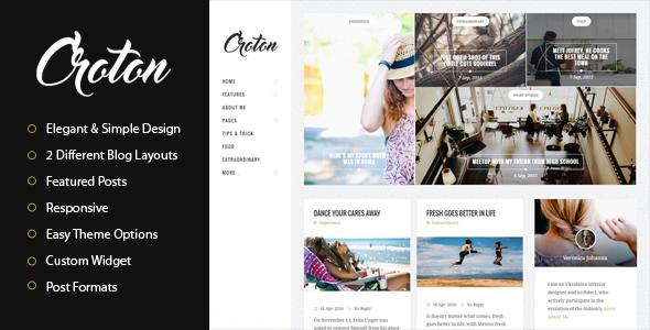 Wordpress Blog Template Croton - Simple And Clean WordPress Personal Blog Theme