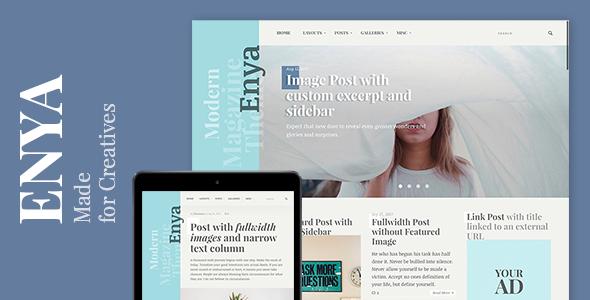 Wordpress Blog Template Enya - WordPress Theme for Creative Bloggers