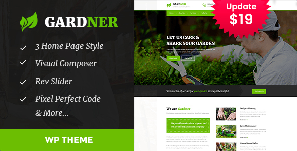 Wordpress Immobilien Template Gardener - Gardening and Landscaping WordPress Theme