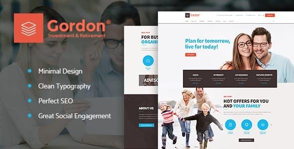 Wordpress Immobilien Template Gordon | Investments & Insurance Company WordPress Theme