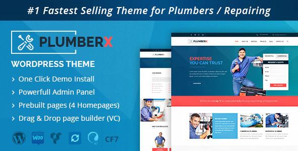 Wordpress Corporate Template Plumber - Construction and Repairing WordPress Theme