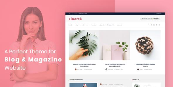 Wordpress Blog Template Liberte - Modern Magazine WordPress Theme