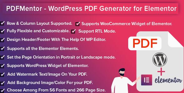Wordpress Add-On Plugin PdfMentor - WordPress PDF Generator for Elementor PRO
