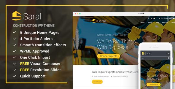 Wordpress Immobilien Template Saral - Construction Building Responsive WordPress Theme