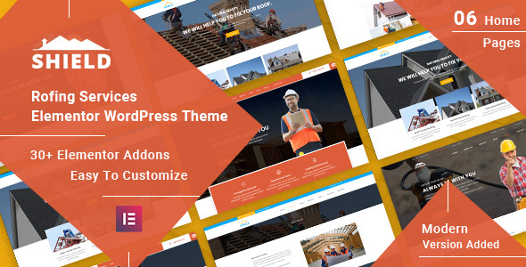 Wordpress Immobilien Template Shield - Roofing Service Elementor WordPress Theme