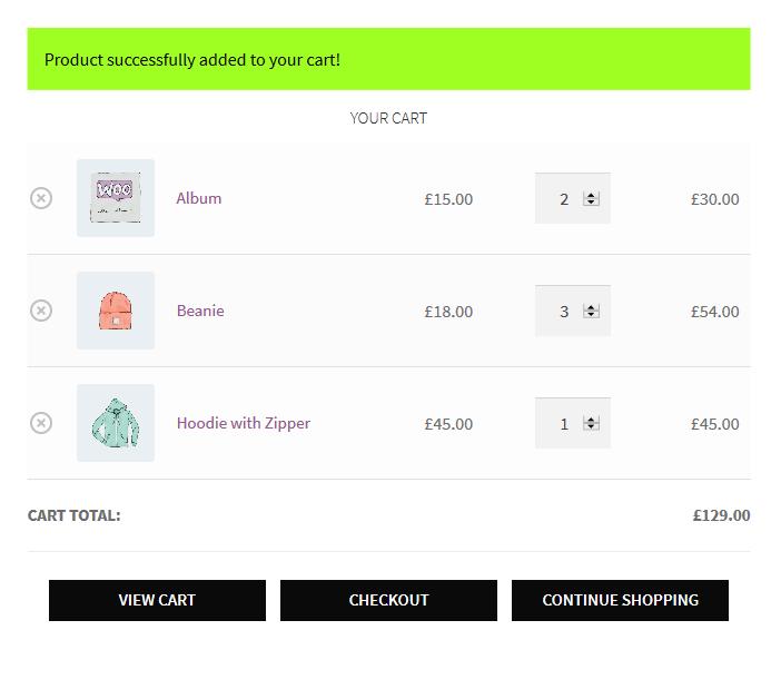 WooCommerce wurde zum Warenkorb-Popup hinzugefügt