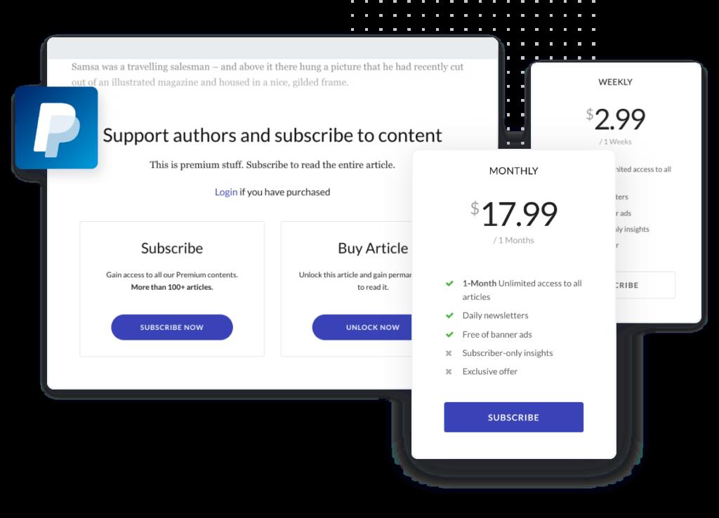 Jeg Paypal Paywall & Content-Abonnementsystem - WooCommerce Plugin - 1