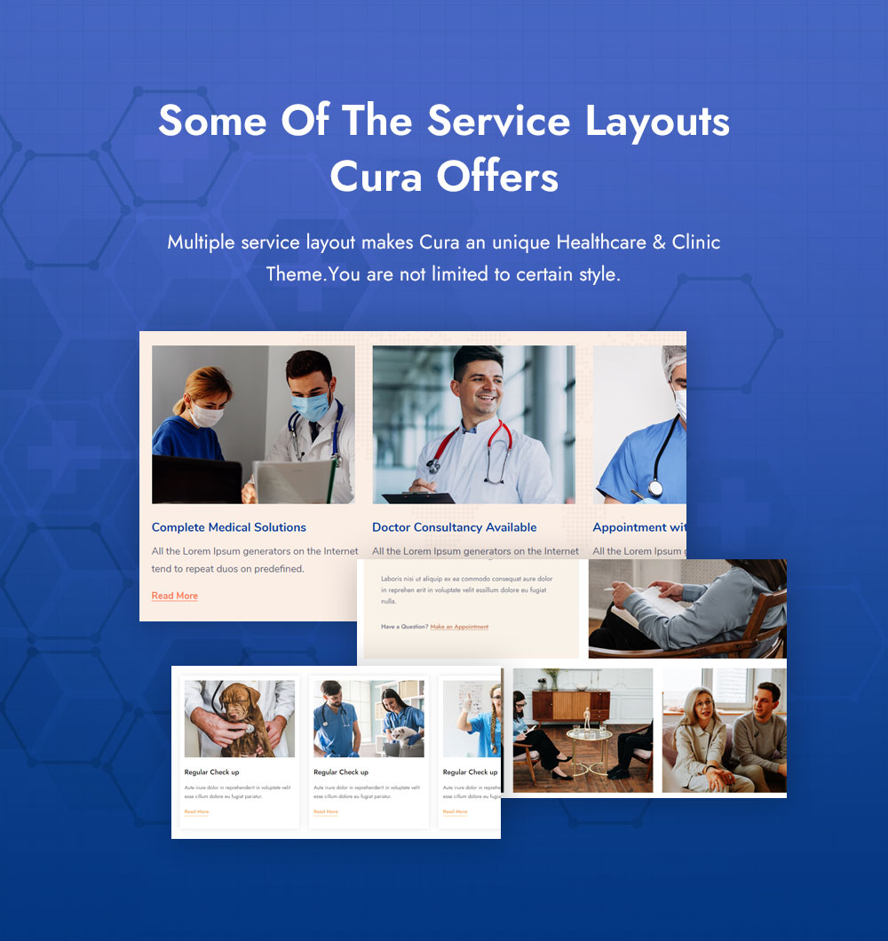Einige der Service-Layouts, die Cura anbietet