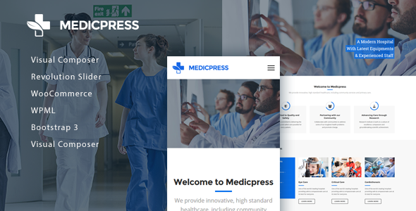 Wordpress Immobilien Template MedicPress - Health & Medical WordPress Theme