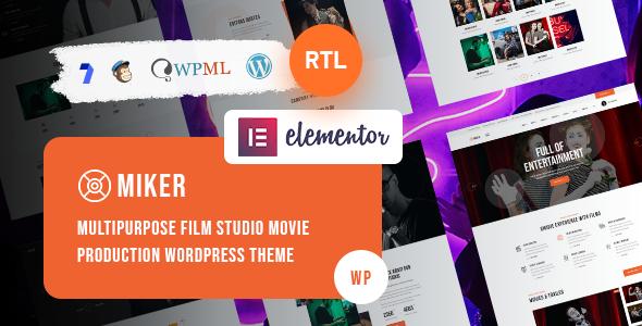 Wordpress Entertainment Template Miker - Movie and Film Studio WordPress Theme