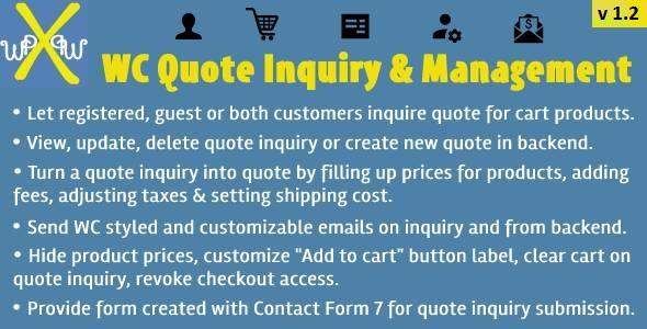 Wordpress E-Commerce Plugin WooCommerce Quote Inquiry & Management