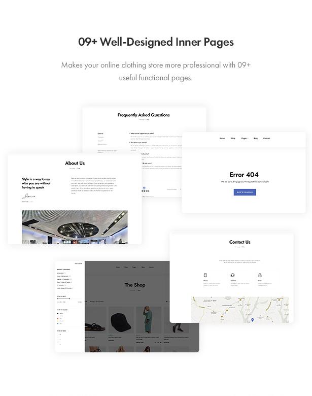 Jenik Gutenberg Fashion WooCommerce Theme - Inner pages