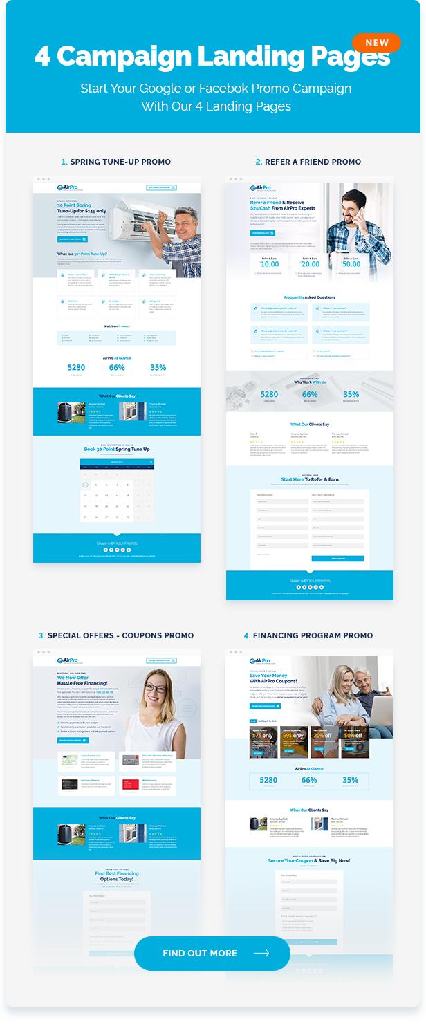 airpro Themenseitenelemente - Lanfing-Seiten