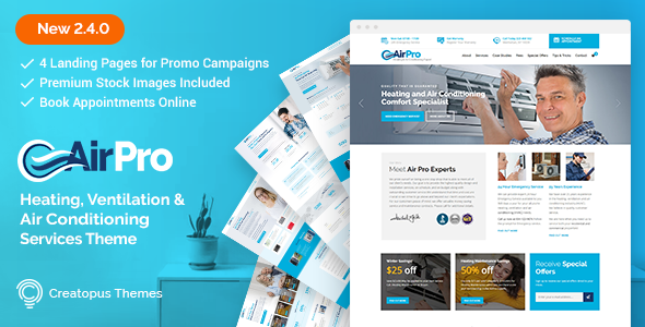 Wordpress Immobilien Template AirPro - Heating and Air conditioning WordPress Theme for Maintenance Services