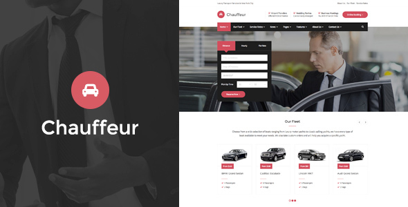 Wordpress Immobilien Template Chauffeur - Limousine, Transport And Car Hire WP Theme