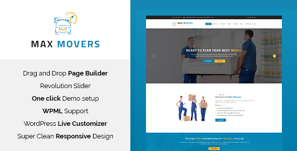Wordpress Immobilien Template Max Movers - Moving Company WordPress Theme
