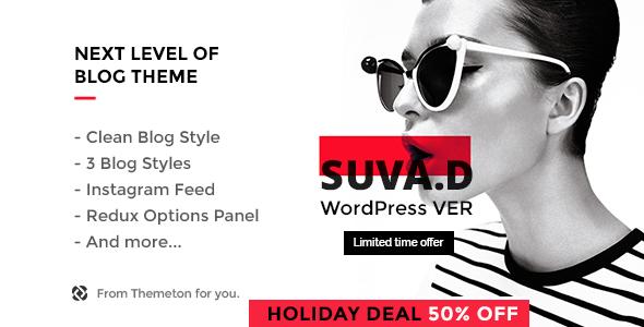 Wordpress Blog Template SUVAD - Personal Blog WP Theme