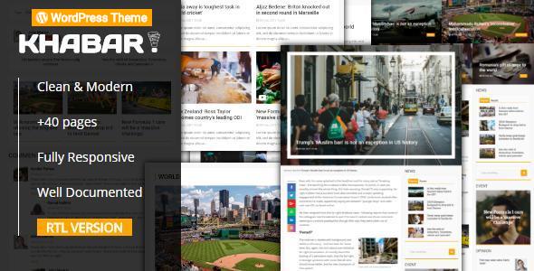 Wordpress Blog Template KHABAR - Responsive News Magazine WordPress Theme