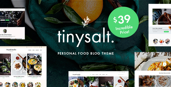 Wordpress Blog Template TinySalt - Personal Food Blog WordPress Theme