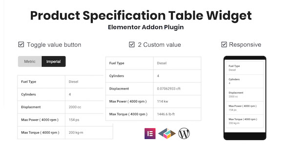 Wordpress Add-On Plugin Product Specification Table Widget For Elementor