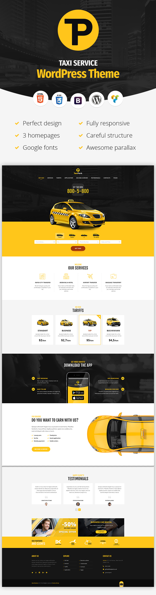 TaxiPark - WordPress-Theme des Taxiunternehmens - 4