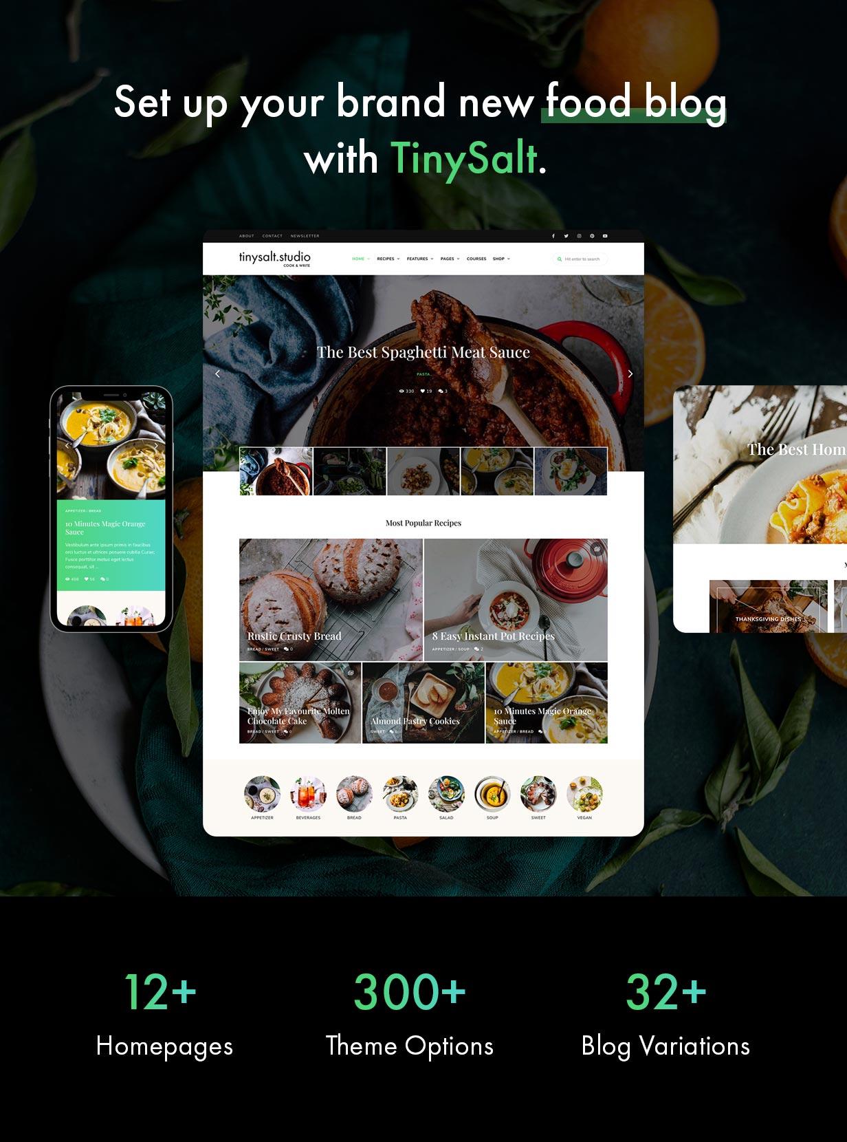 TinySalt - WordPress-Theme für Blog mit frischen Lebensmitteln.