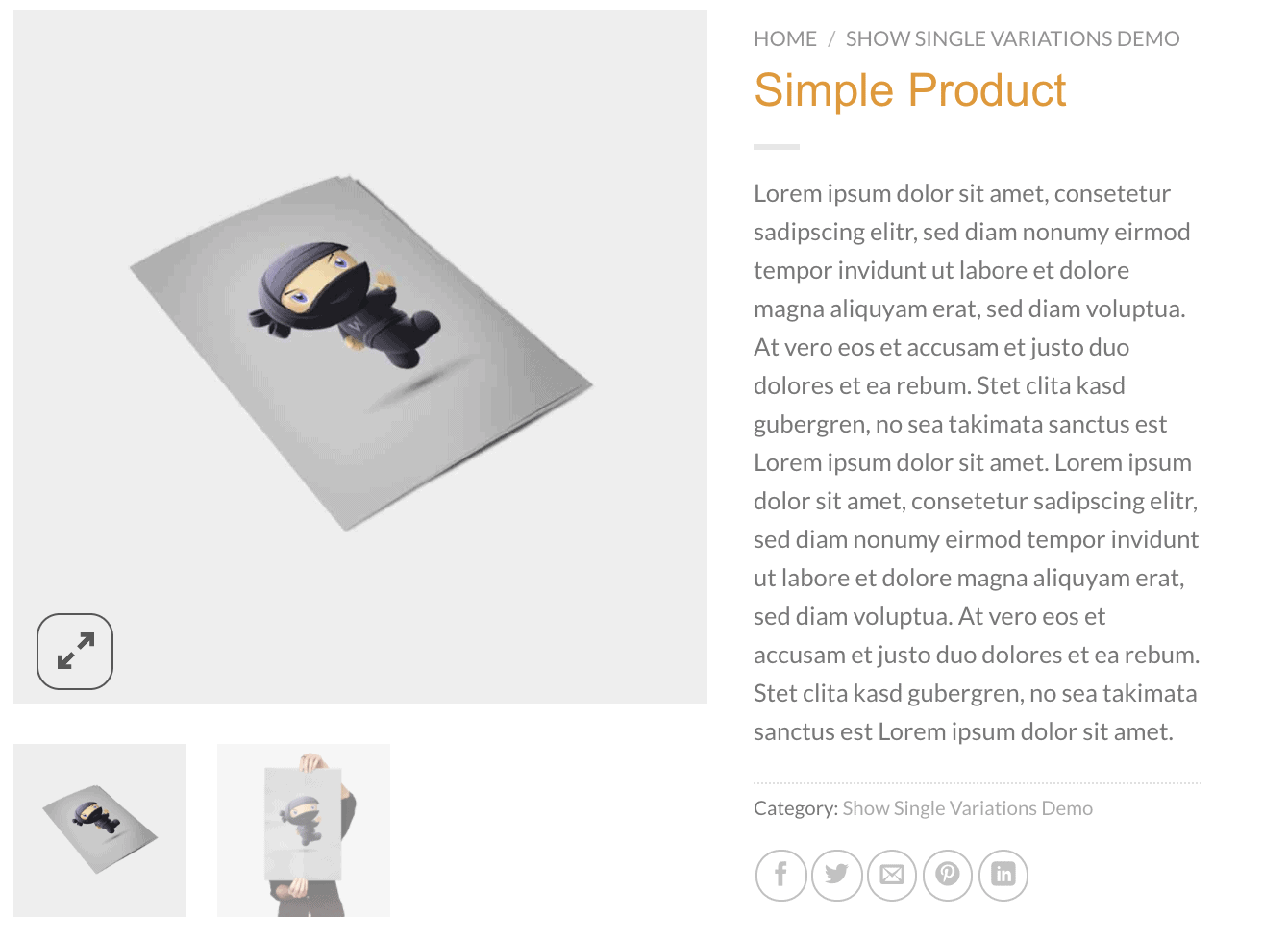 WooCommerce Produktgalerie Lightbox & Zoom