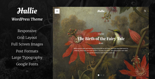 Wordpress Blog Template Hallie - WordPress Theme for Writers