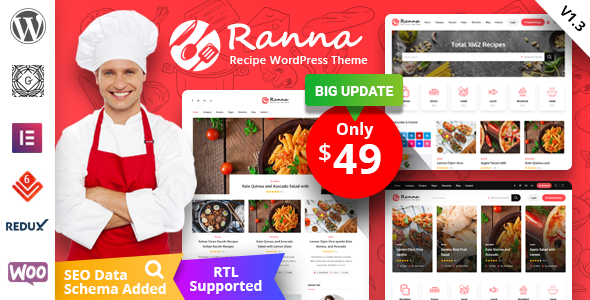 Wordpress Blog Template Ranna - Food & Recipe WordPress Theme