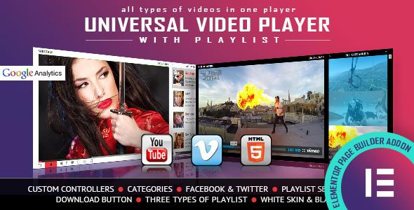 Wordpress Add-On Plugin Universal Video Player - YouTube/Vimeo/Self-Hosted - Elementor Widget
