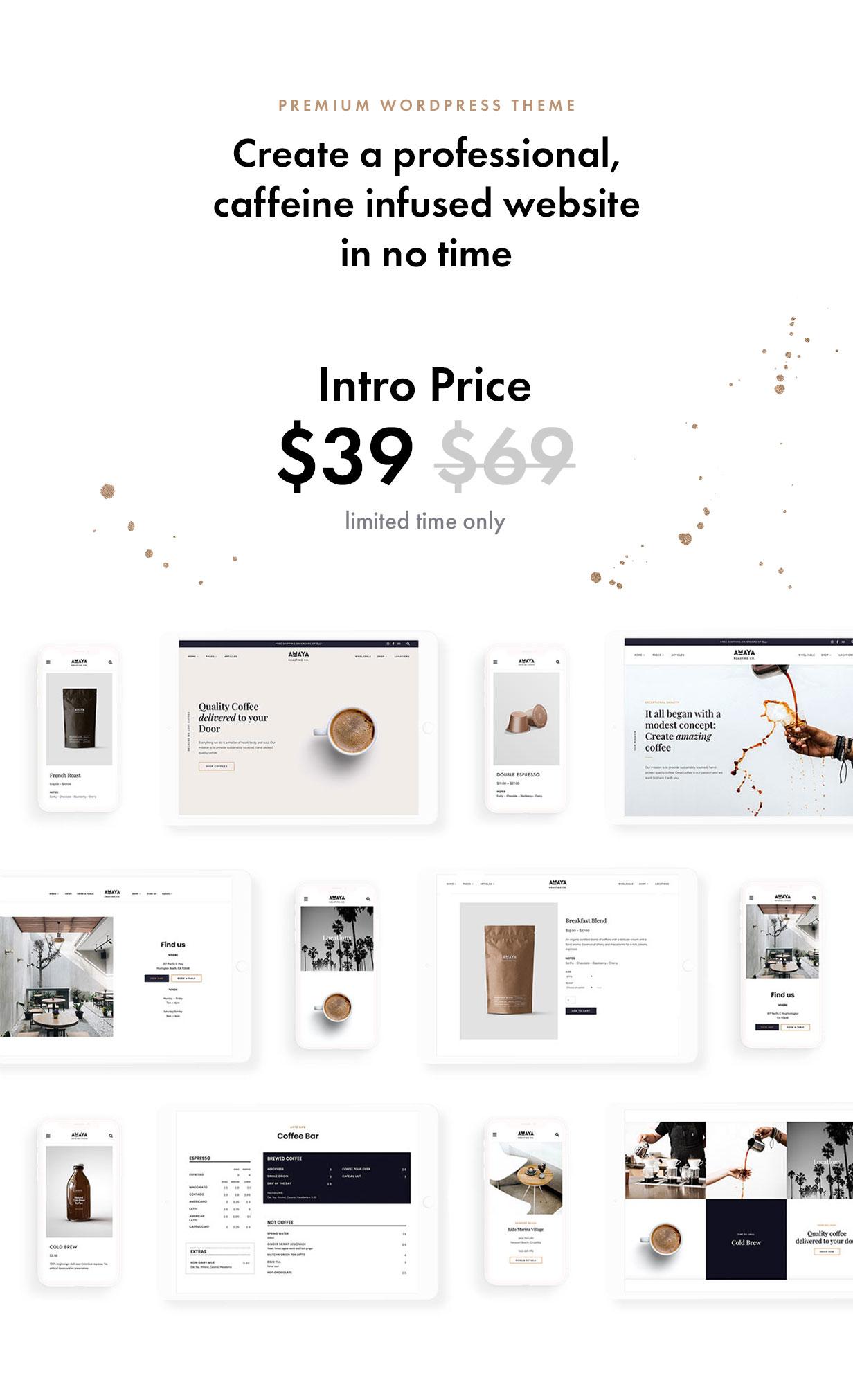 Wordpress Entertainment Template Amaya - Coffee Shop WordPress Theme