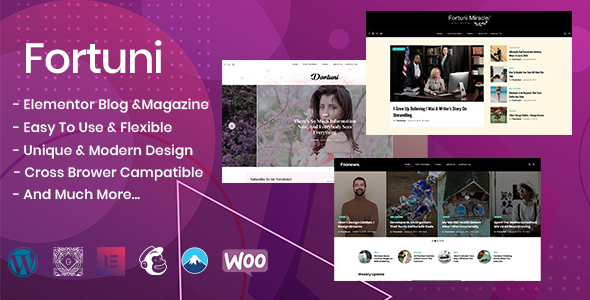 Wordpress Blog Template Fortuni - WordPress Blog & Magazine Theme